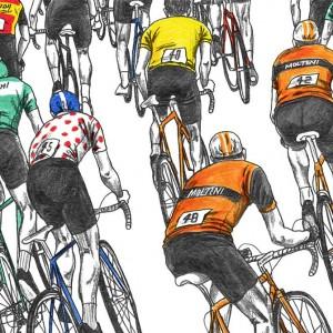 Peloton Racing Cycling Print by David Sparshott