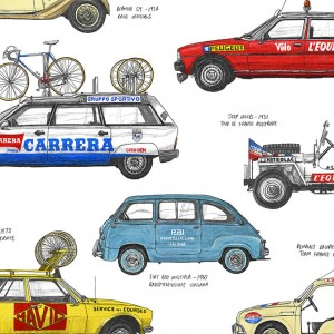 Race Support Vehicles Cycling Print by David Sparshott