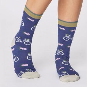 Women's Bamboo Bicycle Socks - Ocean Blue