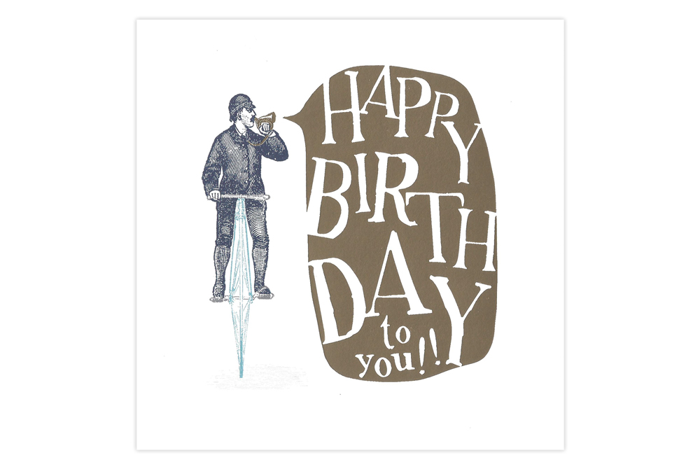 Penny Farthing Bicycle Birthday Card