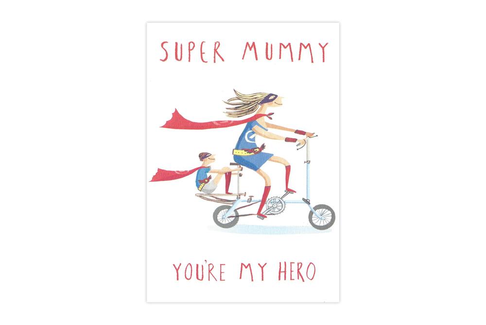 Super Mummy Bicycle Birthday Card