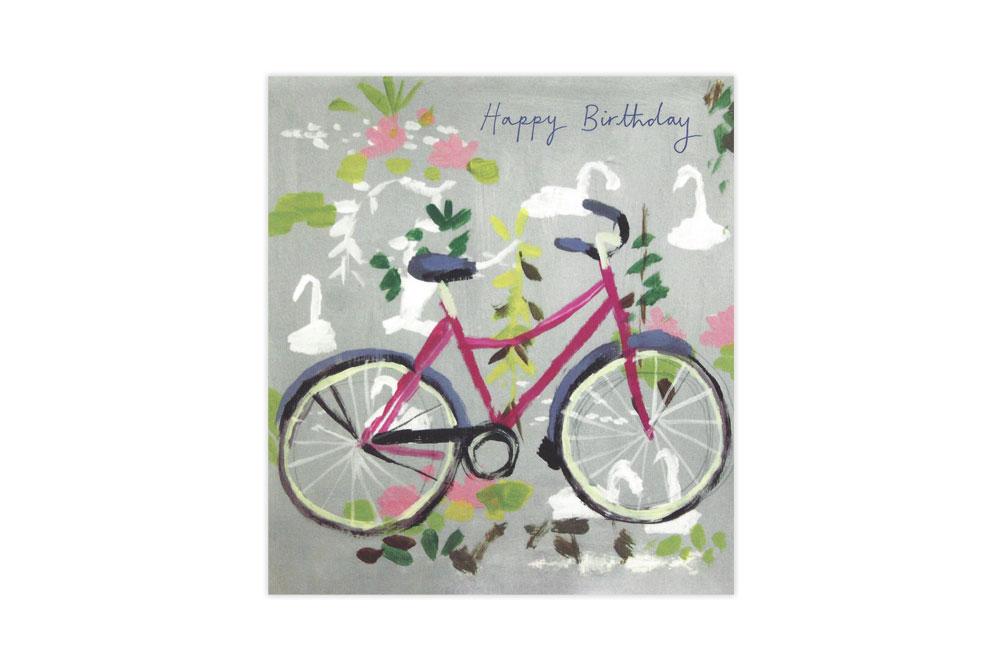 Swan Lake Bicycle Birthday Card
