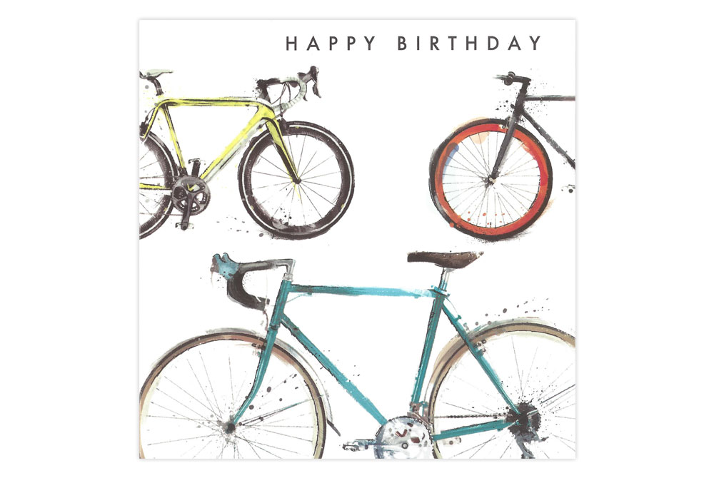 Triple Racing Bicycle Birthday Card