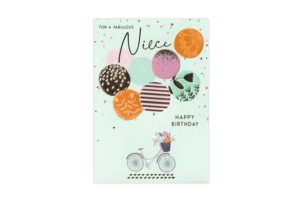 For A Fabulous Niece Bicycle Birthday Card