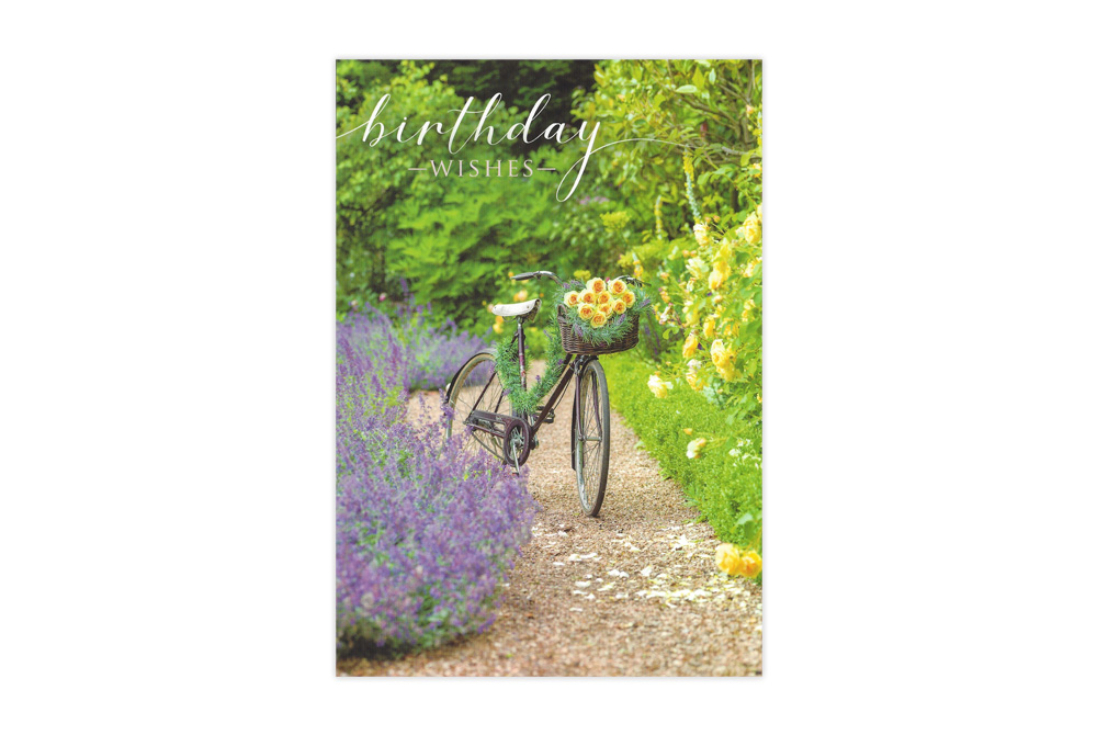 Posies and Petals Bicycle Birthday Card
