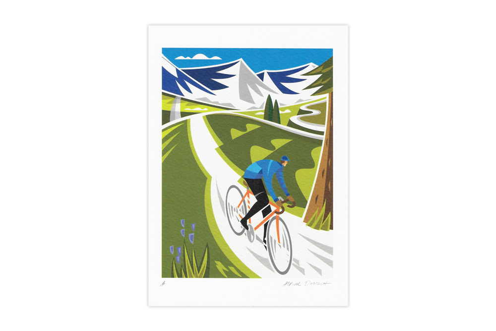 Alpine Descent Colour Bicycle Greeting Card by Andrew Pavitt