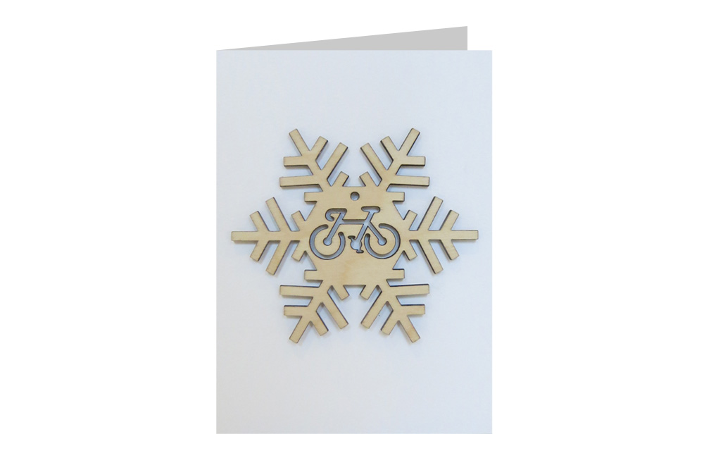 Snowflake Bicycle Decoration Christmas Card