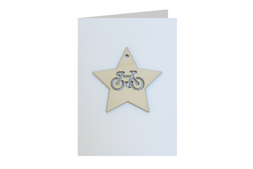 Star Bicycle Decoration Christmas Card