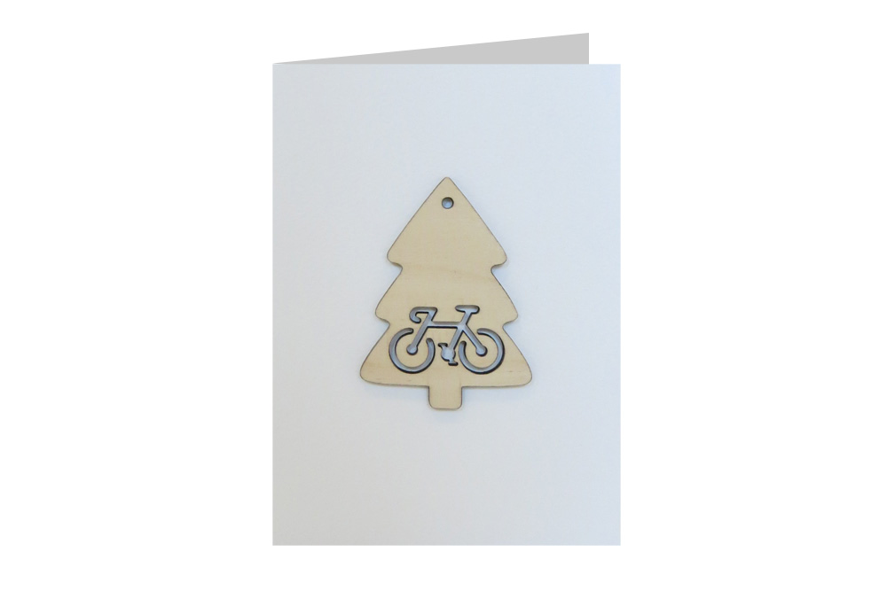 Christmas Tree Bicycle Decoration Christmas Card
