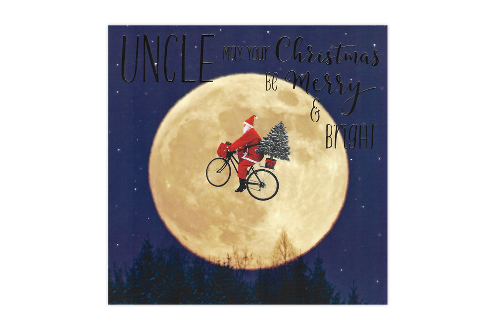 Uncle Moon Bicycle Christmas Card