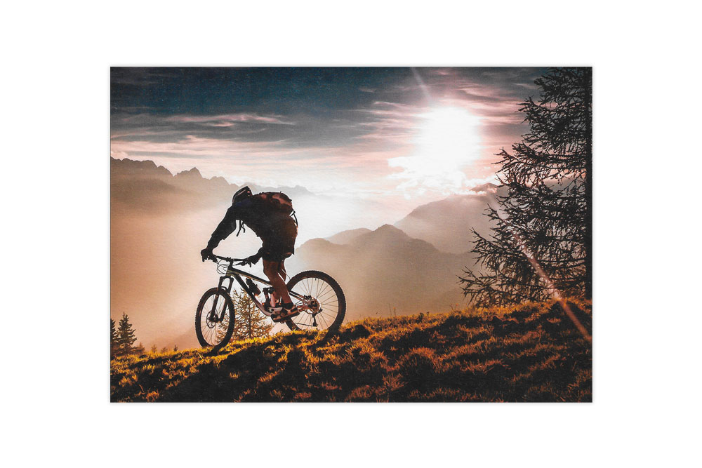 Sunset Mountain Biker Bicycle Birthday Card