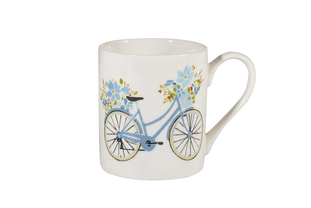 Churchill Women's Bicycle Mug – Lavender Garden Daisy by Julie Dodsworth