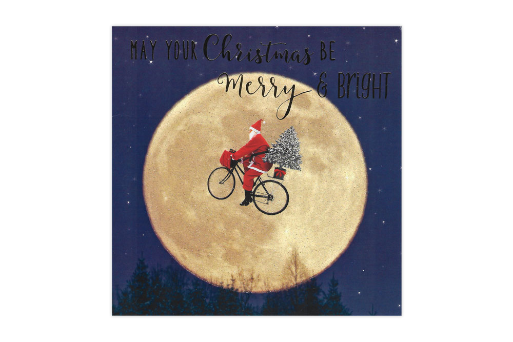 Moon Santa Bicycle Christmas Card