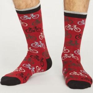 Men's Bamboo Bicycle Socks - Dark Red