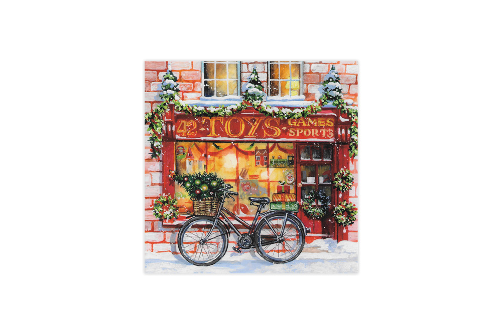 Christmas Shopping Bicycle Christmas Cards x 8