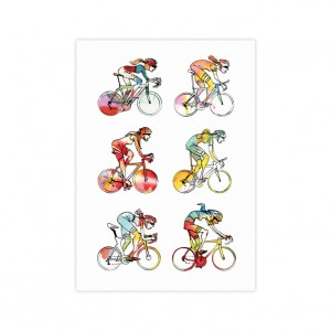 Women Roadies Bicycle Greeting Card - Simon Spilsbury