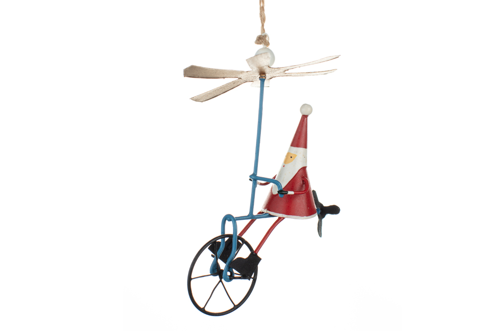 Bicycle Christmas Decoration – Santa on a Propeller Bicycle