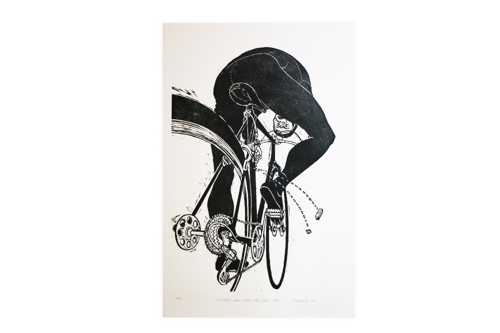 A bloke's bike's brake block broke Cycling Print by Alan Burton