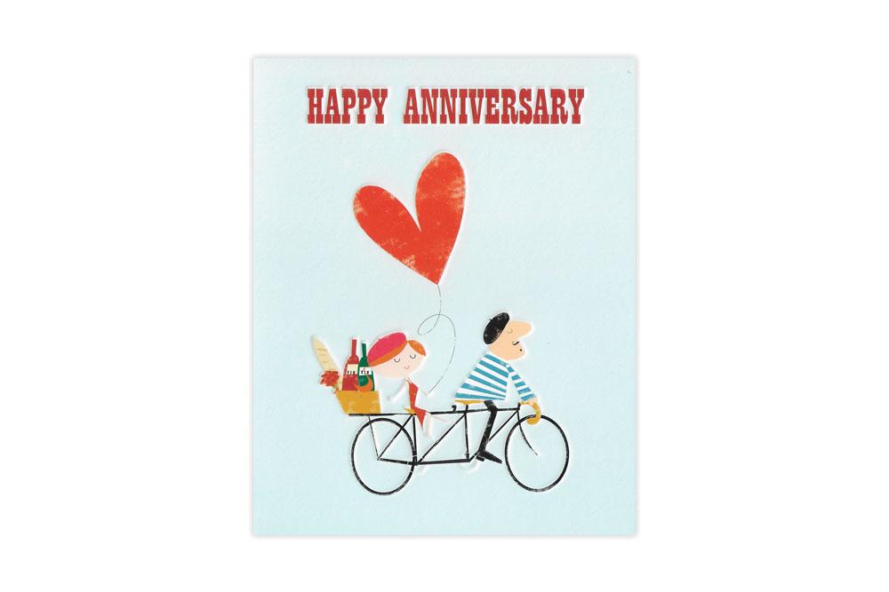 Tandem Love Bicycle Anniversary Card