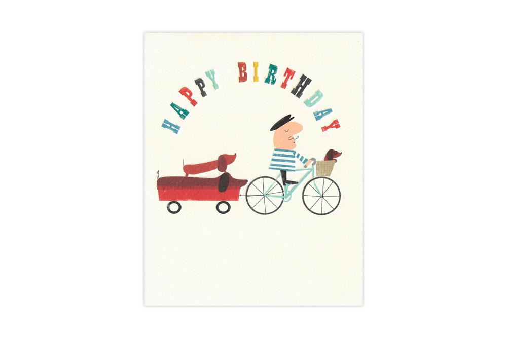 Sausage Dog Bicycle Birthday Card