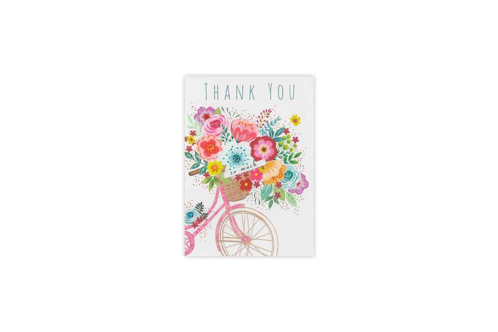 Basket of Flowers Bicycle Thank you Card Set