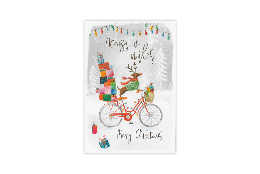 Dachshund Across the Miles Bicycle Christmas Card
