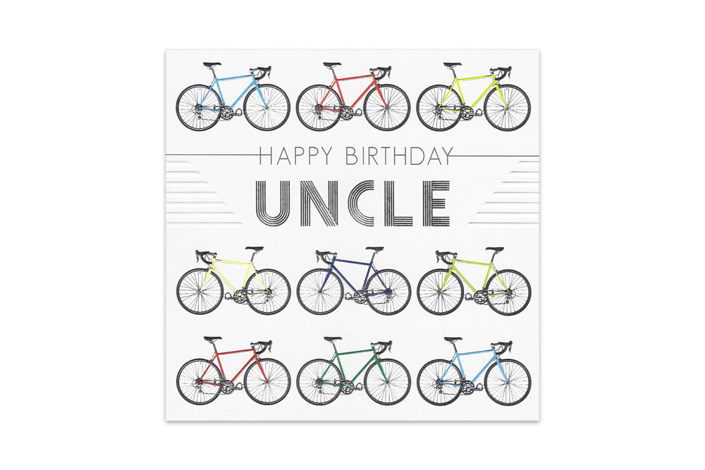 Uncle Racing Bicycle Birthday Card