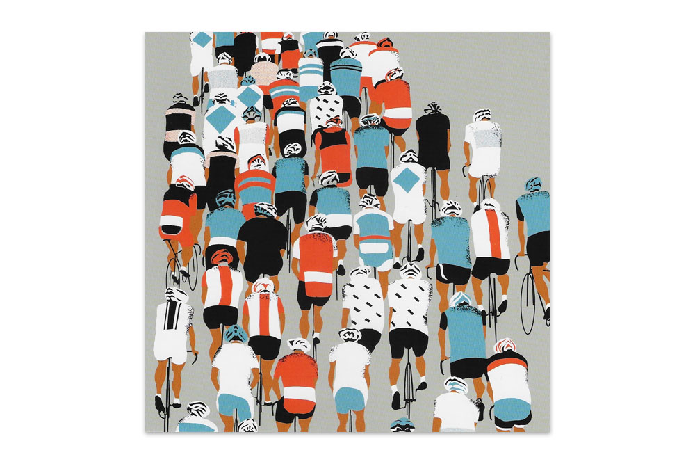 Large Peloton Racing Bicycle Greeting Card by Eliza Southwood