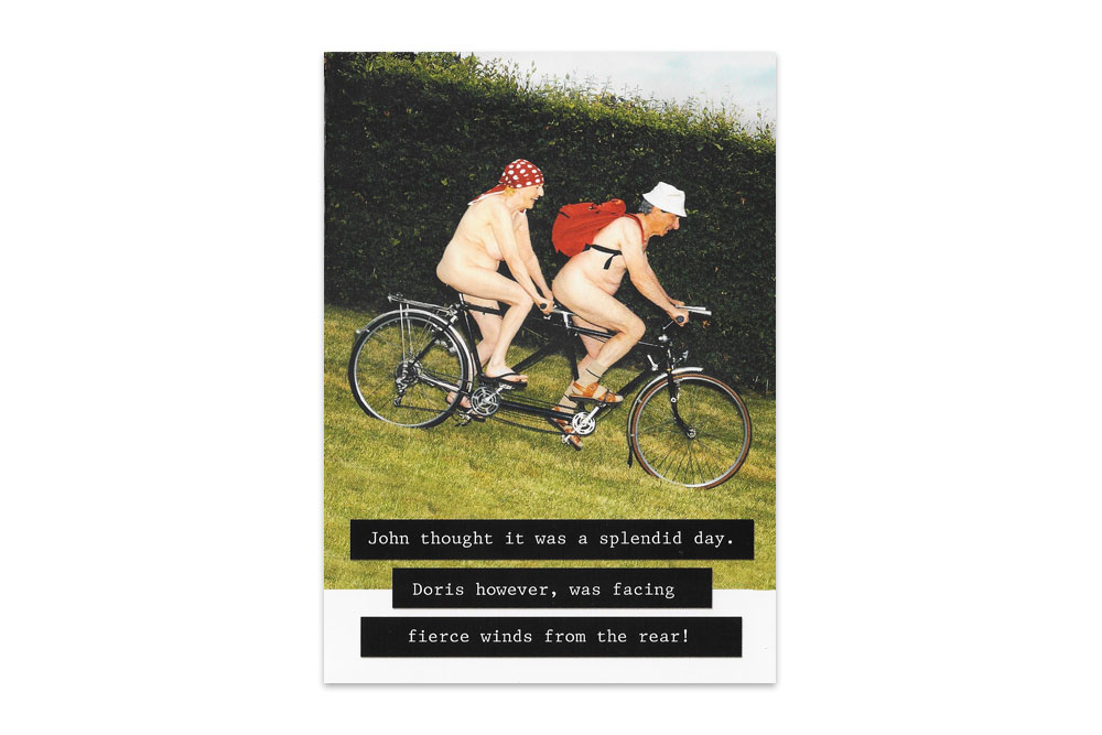 Fierce Winds Naked Tandem Bicycle Greeting Card