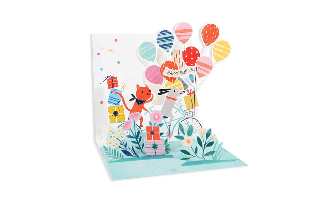 Cat and Dog Tandem Pop Up Birthday Card
