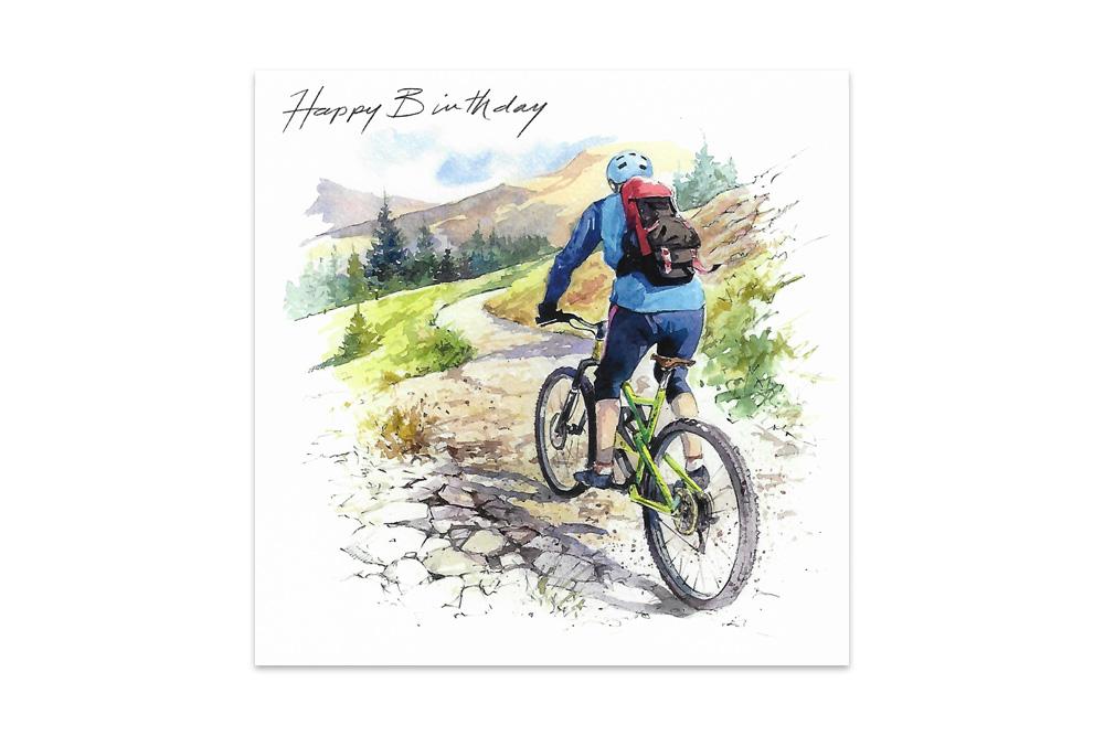 Mountain Biker Bicycle Birthday Card