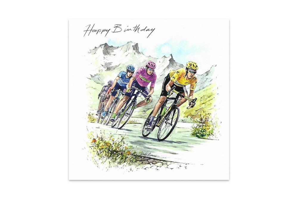 Wiggo and Geraint Racing Bicycle Birthday Card
