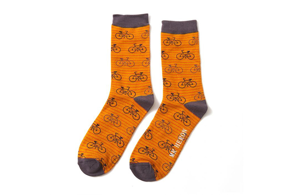 Men's Striped Bicycle Socks – Mustard and Orange