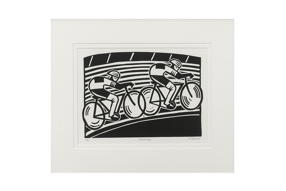 Velodrome Cycling Print by Hugh Ribbans