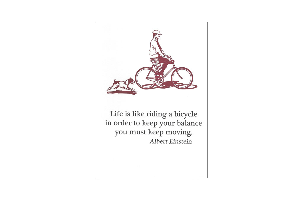 Albert Einstein Bicycle Greeting Card