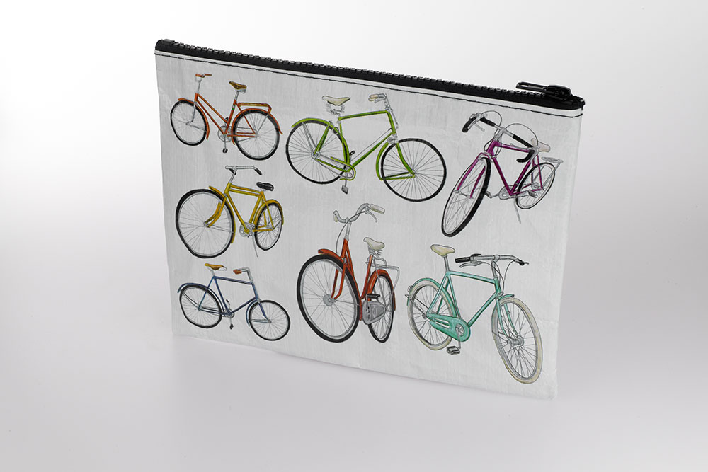 Blue Q White Bicycle Zipper Bag