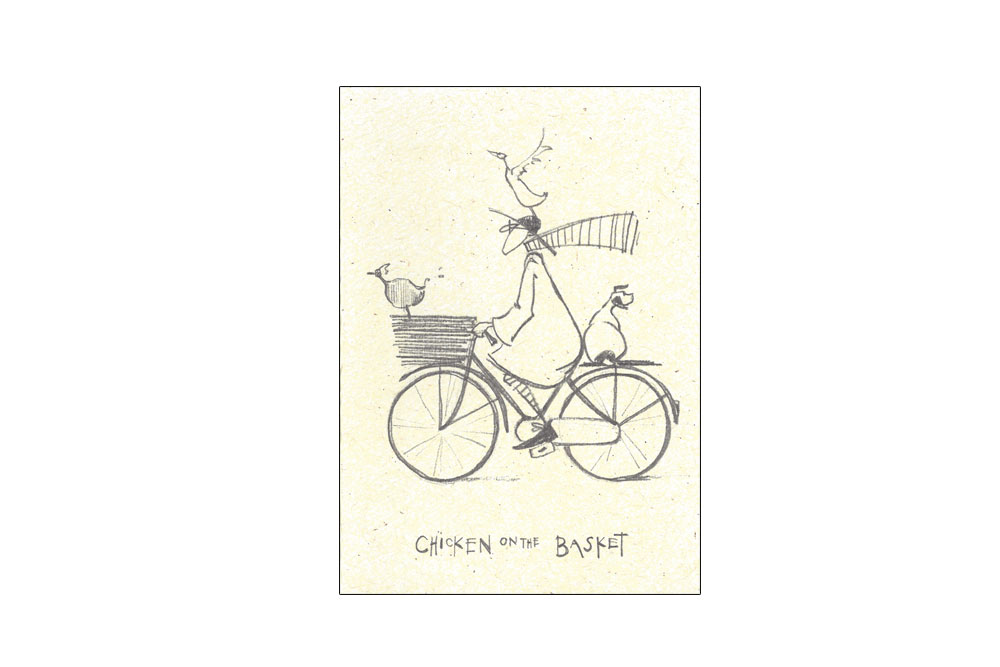Chicken on the Basket Bicycle Greeting Card