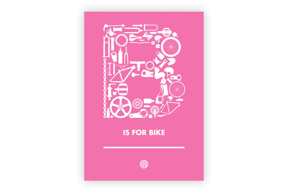 B is for Bike Pink Bicycle Greeting Card by Anthony Oram