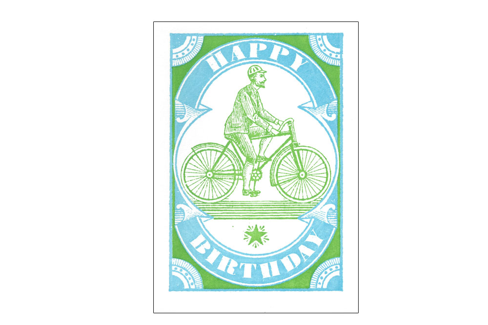 Vintage Cyclist Happy Birthday Card