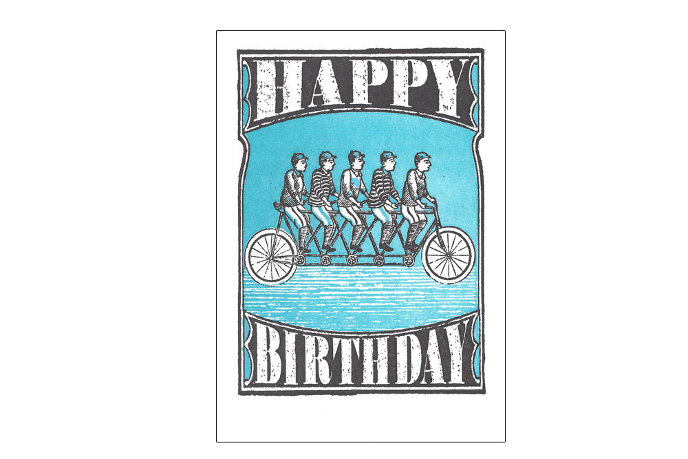 Bicycle for Five Bicycle Birthday Card