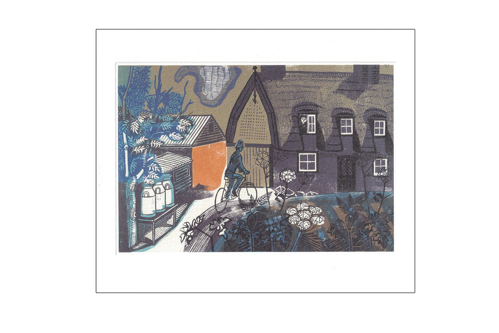 Ives Farmhouse Bicycle Greeting Card by Edward Bawden