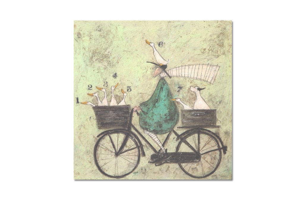 All aboard the ducky express Bicycle Greeting Card