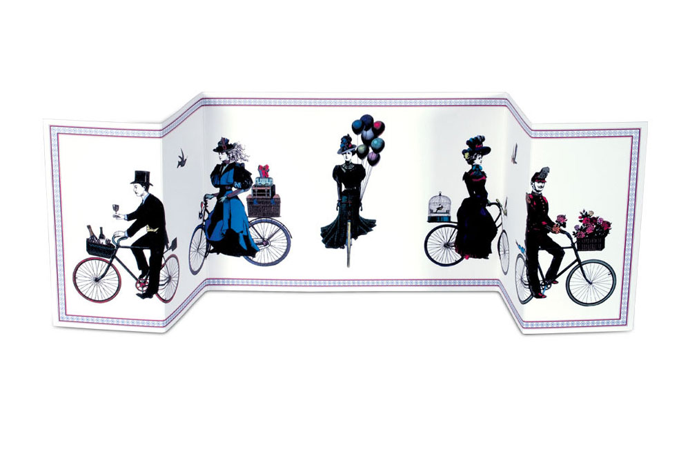 Cycling Procession Fold out Bicycle Greeting Card