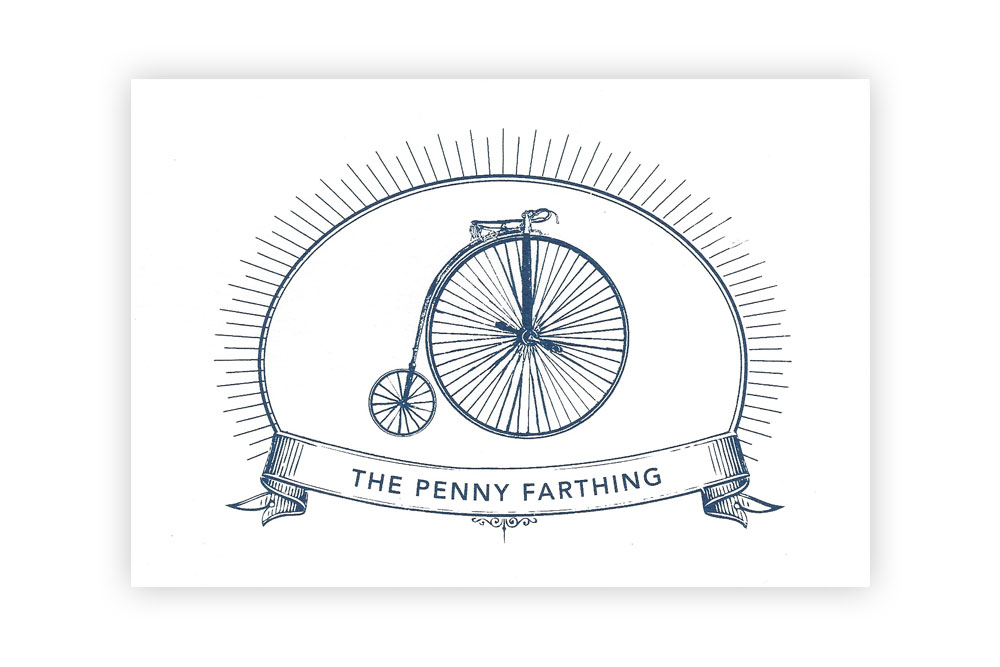 The Penny Farthing Bicycle Greeting Card