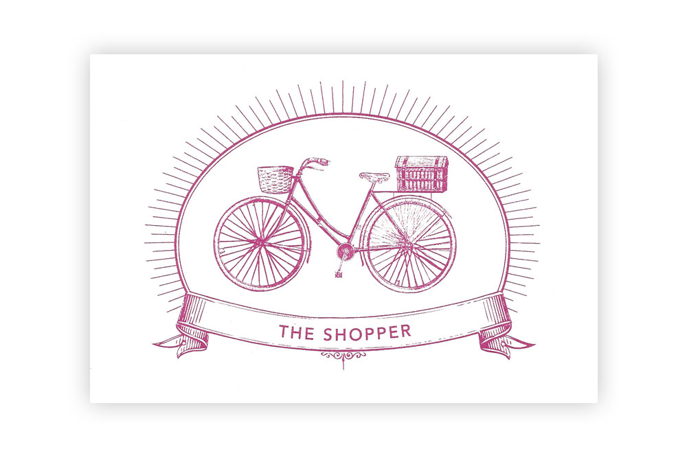 The Shopper Bicycle Greeting Card