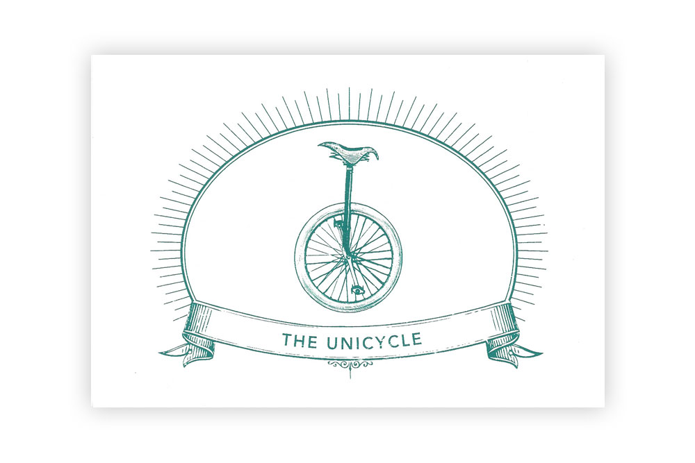 The Unicycle Bicycle Greeting Card