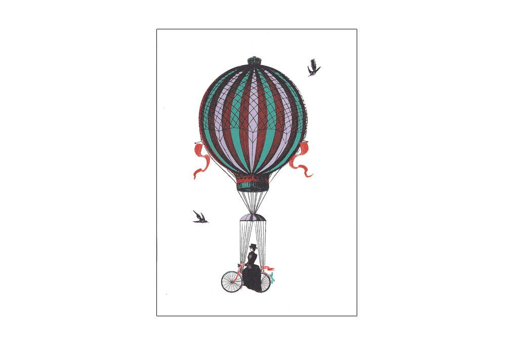 She Rides Above It Bicycle Greeting Card