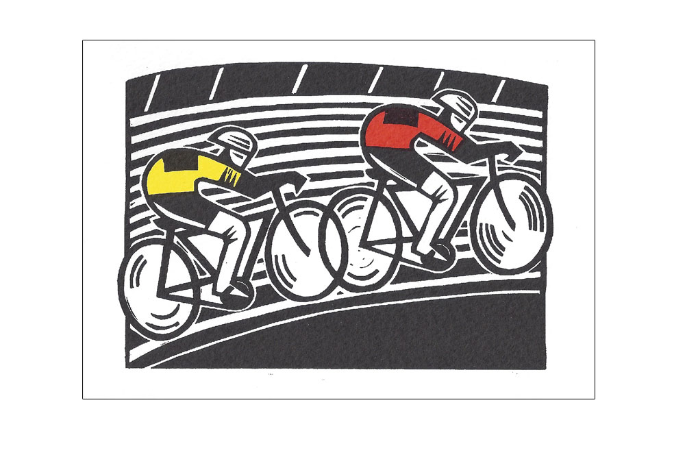 Velodrome Bicycle Greeting Card by Hugh Ribbans