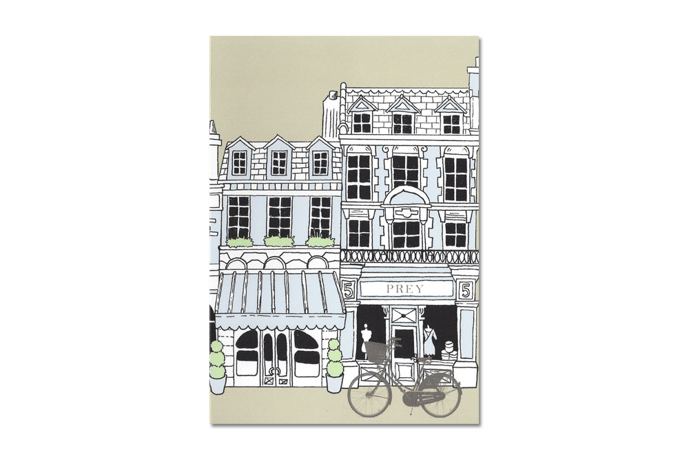 Buildings Bike Blue Bicycle Greeting Card