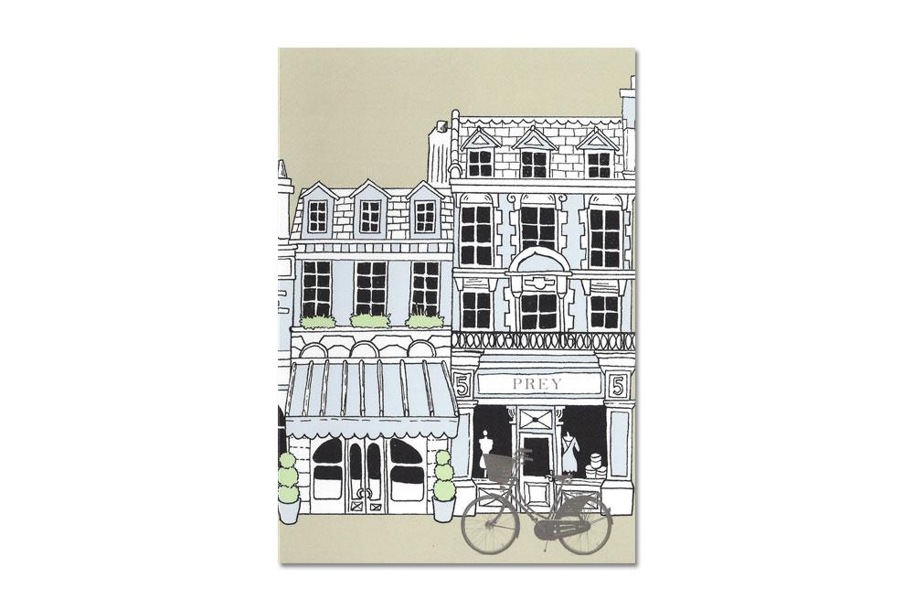 Buildings Bike Blue Bicycle Greeting Card